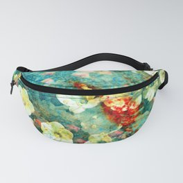 White Flowers on Turquoise Plant Fanny Pack