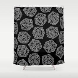 d20 - white on black - icosahedron doodle pattern Shower Curtain