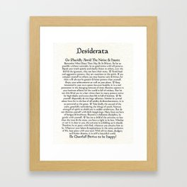 Inspirational Typography Wall Art, Antique Style, Medieval Desiderata Poem by Max Ehrmann Framed Art Print