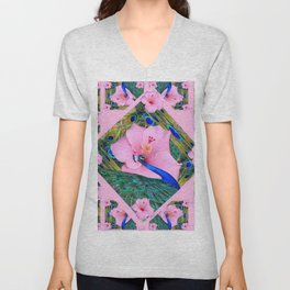 #2 PINK HIBISCUS FLOWERS BLUE-GREEN PEACOCK PATTERNS Unisex V-Neck