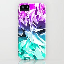 Modern Trendy Purple and Teal Fractal Geo iPhone Case