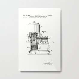 Espresso Machine Patent Artwork Metal Print
