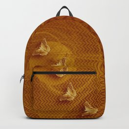 Butterflies, fractal and chevron design in copper Backpack