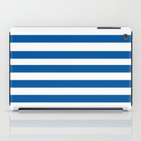 preppy iPad Cases featuring Preppy Navy & White Stripe by Sweet Karalina