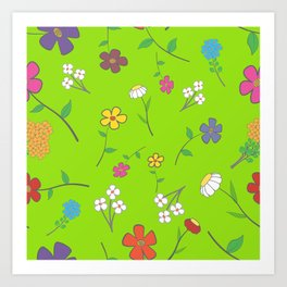 Background - floral seamless with a variety of flowers Art Print