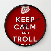 meme Wall Clocks featuring Keep Calm and Troll On (Troll, faces, Rage, meme, mashup) by SOULTHROW