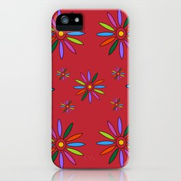 Flower Art in Multicolor - Red iPhone Case