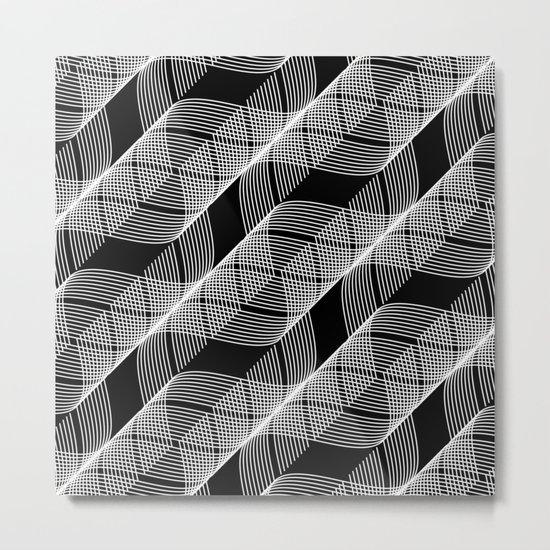 Black White Helix Metal Print