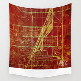 Harvey Illinois old map year 1929, original artwork Wall Tapestry