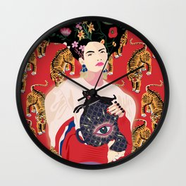 Let your mind blossom - Fashion portrait Wall Clock