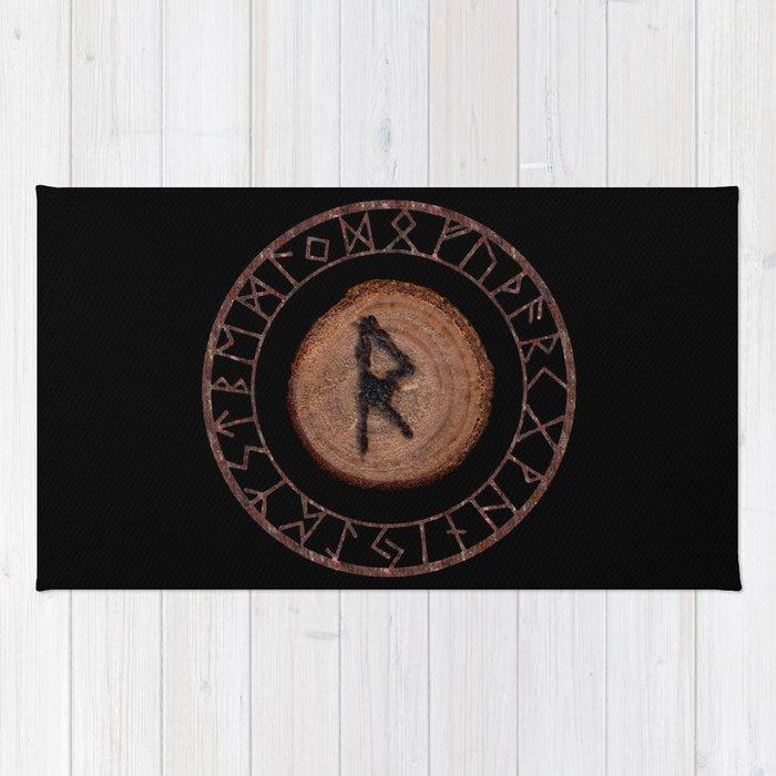 Raidho Elder Futhark Rune Travel, journey, vacation, relocation, evolution, change of place Rug