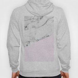 Real White Marble Half Baby Pink Modern Abstract Shapes Hoody