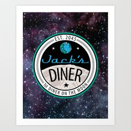 Jack's Diner on The Moon, Nebula Art Print