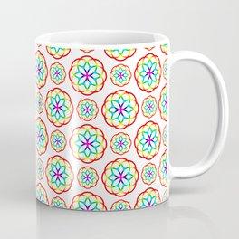 Geometrical red pink orange teal fractal circles pattern Coffee Mug