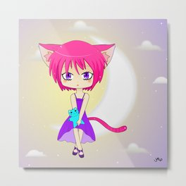 Pink Haired Neko Anime Girl Metal Print