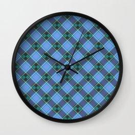 Blue Tartan Pattern Wall Clock