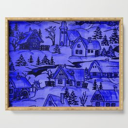 winter village,blue Serving Tray