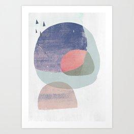 02 circles and tri purple Art Print