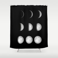 moon phases Shower Curtains featuring Moon Phases on Black by Kate & Co.