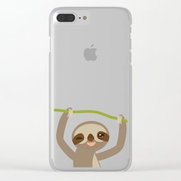 funny and cute smiling Three-toed sloth on green branch 2 Clear iPhone Case