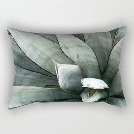 Botanical Succulents // Dusty Blue Green Desert Cactus High Quality Photograph Rectangular Pillow