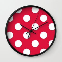 Large Polka Dots - White on Crimson Red Wall Clock