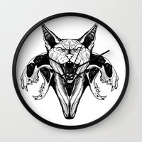 sphynx Wall Clocks featuring Sphynx by kitsunebis