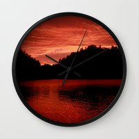 norway Wall Clocks featuring Sunset Norway by Christine baessler