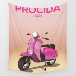 Procida Italy scooter vacation poster Wall Tapestry