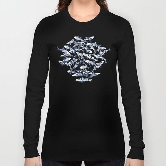 shark party blue Long Sleeve T-shirt