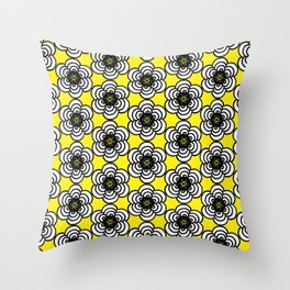 Yellow and Black Flowers Throw Pillow