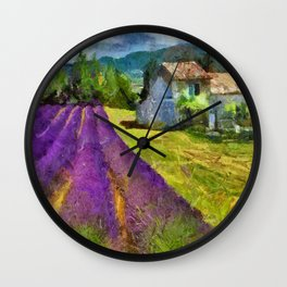 Lavender in Provence Wall Clock