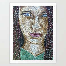 Broken Words - Scrabble Tile Mosaic Art Print