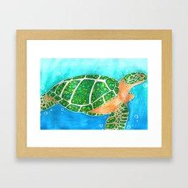 Malachite Sea Turtle Framed Art Print