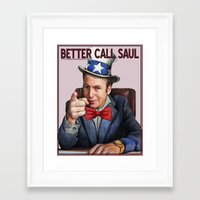 better call saul Framed Art Prints featuring Better Call Saul by Magdalena Almero