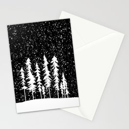 Snowy Winter Forest  Black and White Stationery Cards