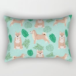 Shiba Inu summer monstera tropical pure breed dog gifts Rectangular Pillow