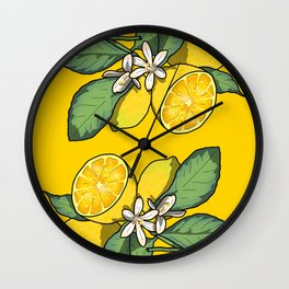 Botanical Lemon Print Wall Clock