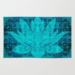 Blue Geometric Glitch Lotus Flower Rug