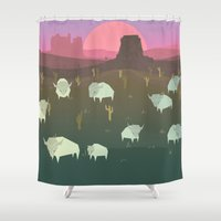 bison Shower Curtains featuring Bison by N1MH