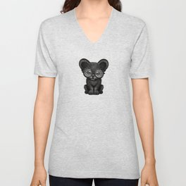 Cute Baby Black Panther Cub Wearing Glasses on Blue Unisex V-Neck