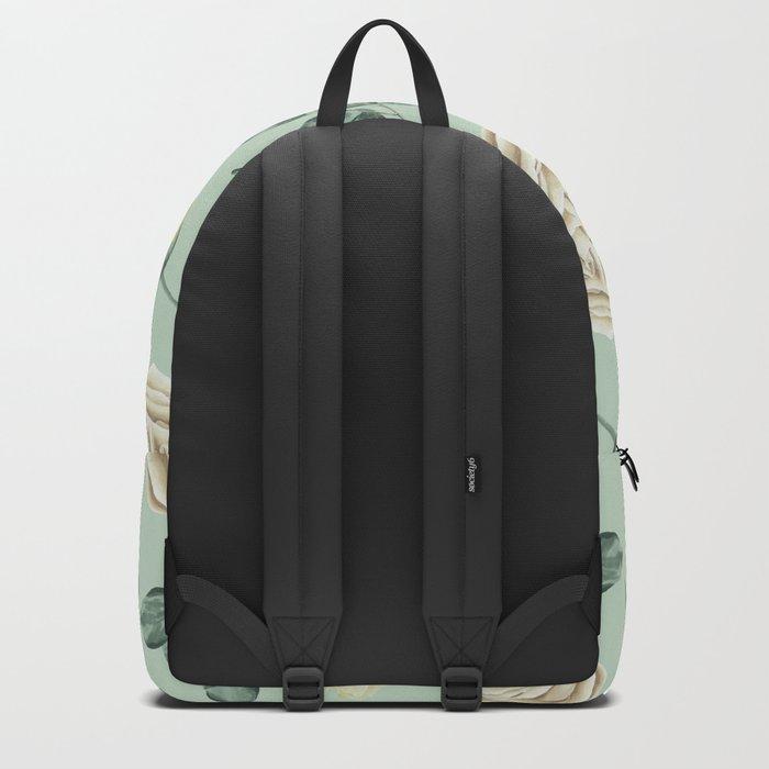 Rose Pattern Cream + Mint Green Backpack