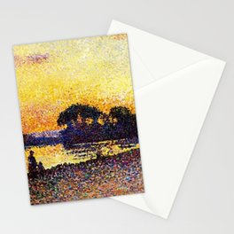 Banks of the River Seine, Paris at Herblay Sunset by Maximilien Luce Stationery Cards