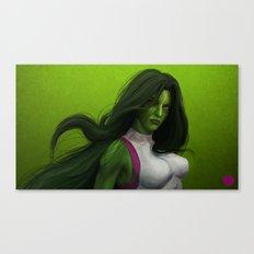 GREEN HAIR, GREEN EYES, HYPNOTIZE Canvas Print