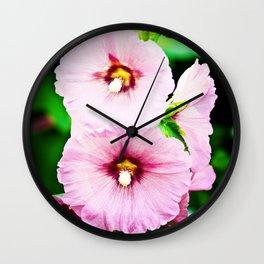 Pink Hollyhocks Cluster Wall Clock