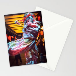 Chinese actress performs a traditional face-changing sichuan opera show Stationery Cards