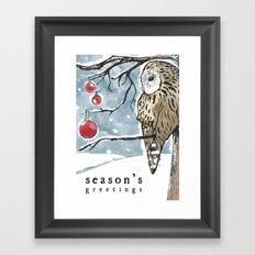 Lonely Owl Christmas Card Framed Art Print