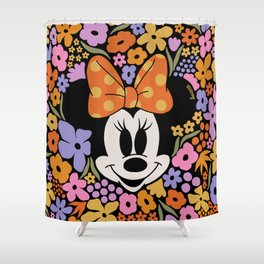 """""""Minnie Mouse and Colorful Flowers Dark"""" by Hanna Kastl-Lungberg Shower Curtain"""