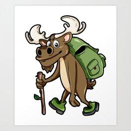 Hiking Elk Moose Hiker Wanderer Cartoon Comic Gift Art Print