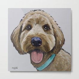 Cute GoldenDoodle, Golden Doodle Art Metal Print